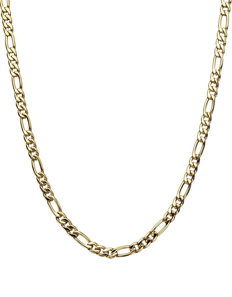 Men's Stainless Steel 6mm Gold Plated Figaro Chain Necklace
