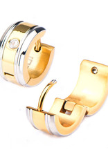 Gold Stainless Steel CZ Huggie Earrings 13mm