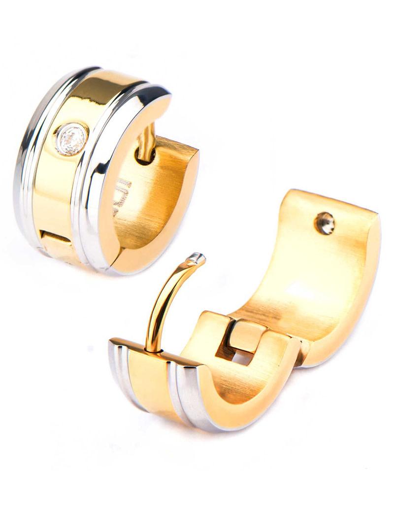 Gold Steel CZ Huggie Earrings