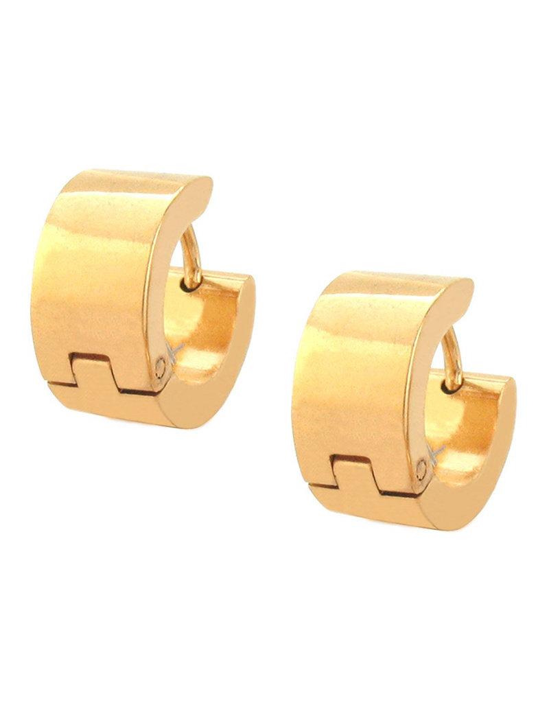 Stainless Steel 7mm Wide Flat Gold Steel Huggie Earrings 13mm