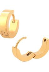 Stainless Steel 4mm Wide Flat Gold Huggie Earrings 13mm