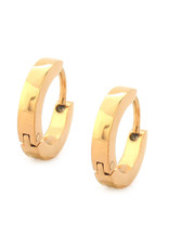 Stainless Steel 2.5mm Wide Flat Gold Huggie Earrings 13mm