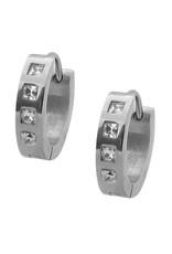 Stainless Steel Square CZ's Huggie Earrings 13mm