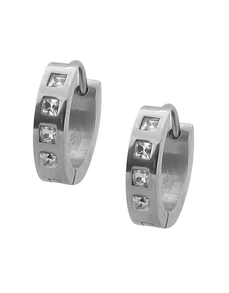 Stainless Steel Square CZ's Huggie Earrings 15mm