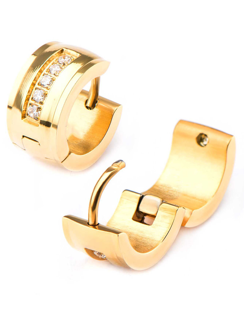 Gold Steel CZ Huggie Earrings