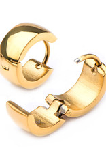 Stainless Steel 6mm Wide Gold PVD Huggie Earrings 13mm
