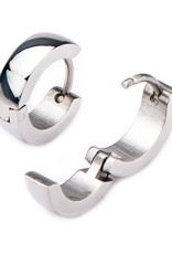Stainless Steel 4mm Wide Huggie Earrings 13mm