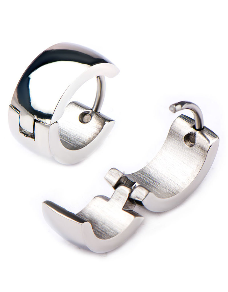 Stainless Steel 6mm Wide Huggie Earrings 13mm