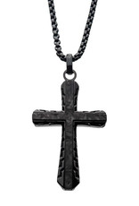 Men's Stainless Steel and Black Carbon Fiber Cross Necklace 24""