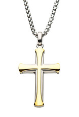 Men's Stainless Steel Two-Tone Gold IP Apostle Cross Necklace 24""