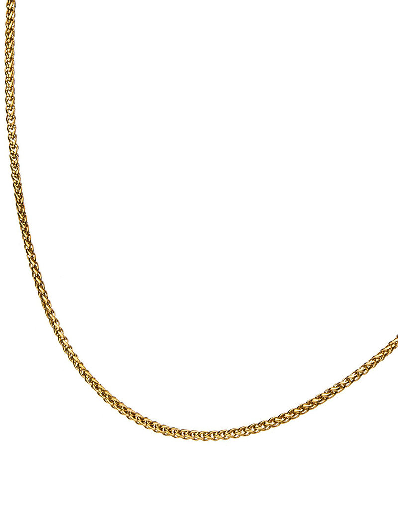 Men's Stainless Steel Gold IP 2.55mm Wheat Link Chain 24""