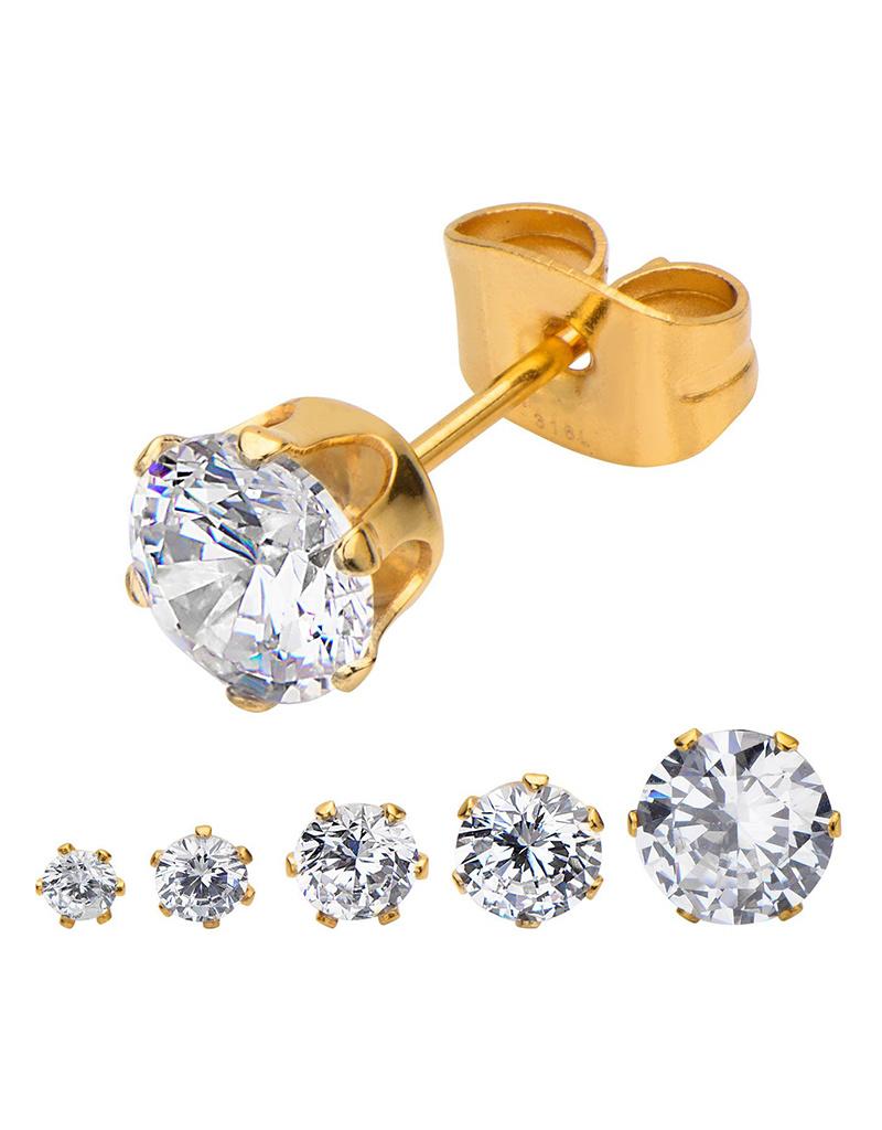 CZ Gold Steel Stud Earrings