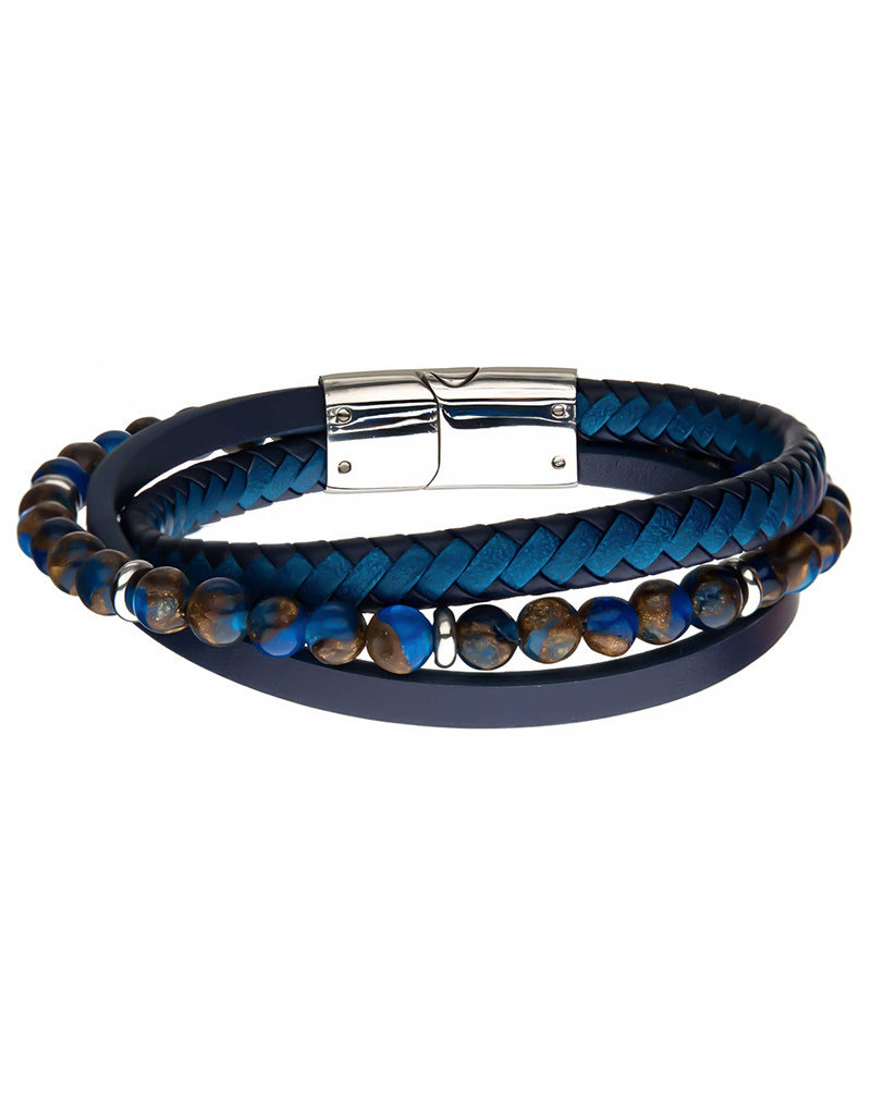 Men's Layered Blue Leather and Brown Bead Bracelet 8.25""