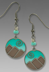 Aqua and Silver Mountain Scene Earrings