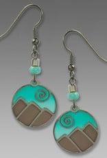 Aqua and Silver Mountain Scene Earrings