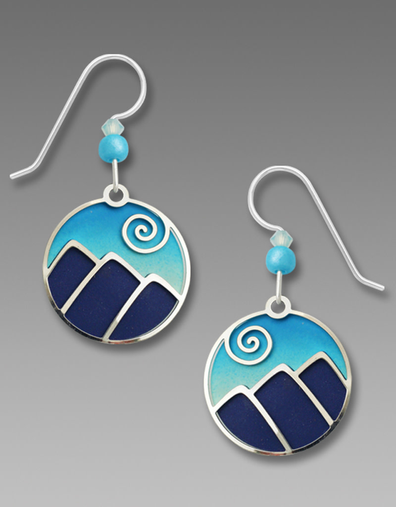 Mountain Scene in Blue and Aqua Earrings
