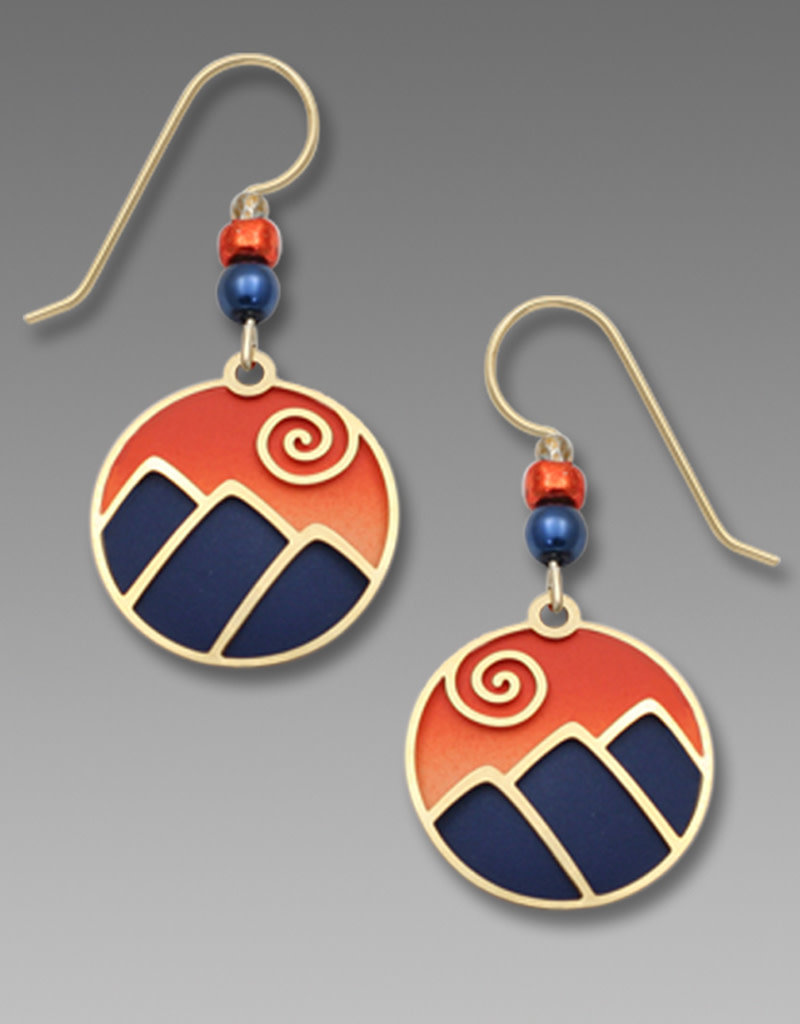 Mountain Scene Earrings in Blue and Sunset Orange
