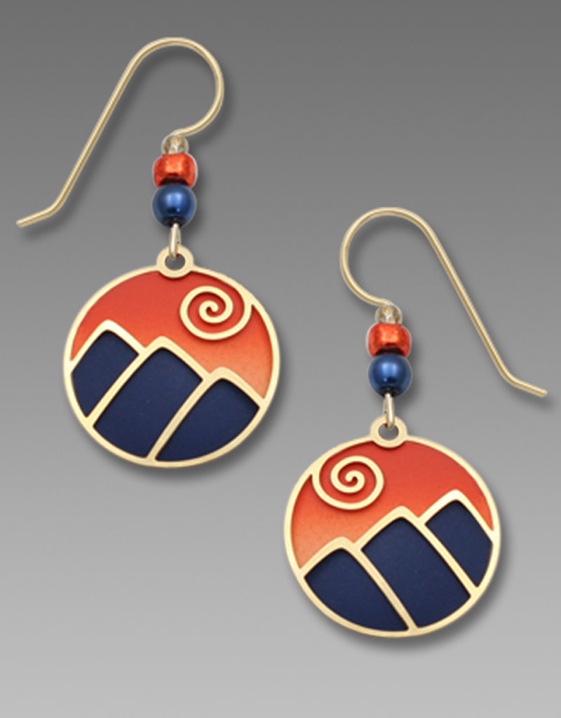 Mountain Scene Earrings in Blue and Orange