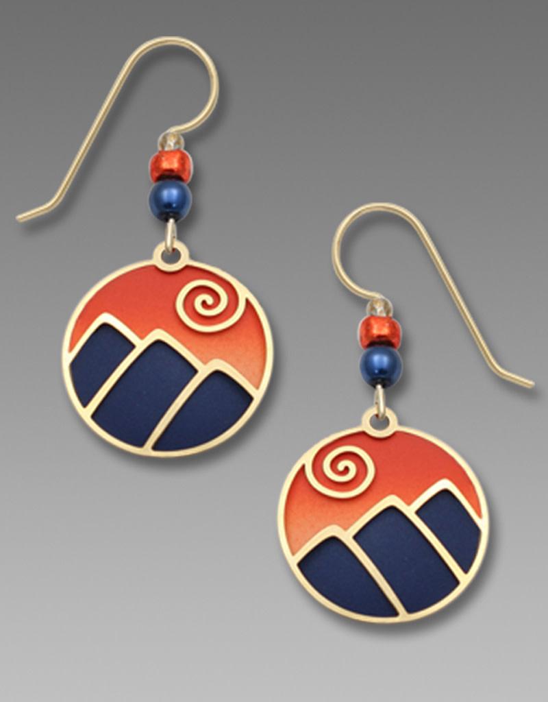 Mountain Scene Earrings in Blue and Orange
