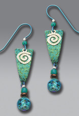 Teal Arrowhead Earrings with Silvertone Spiral and Beads