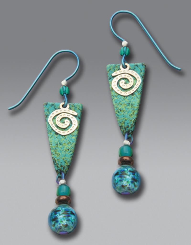 Teal Arrowhead Earrings with Spiral