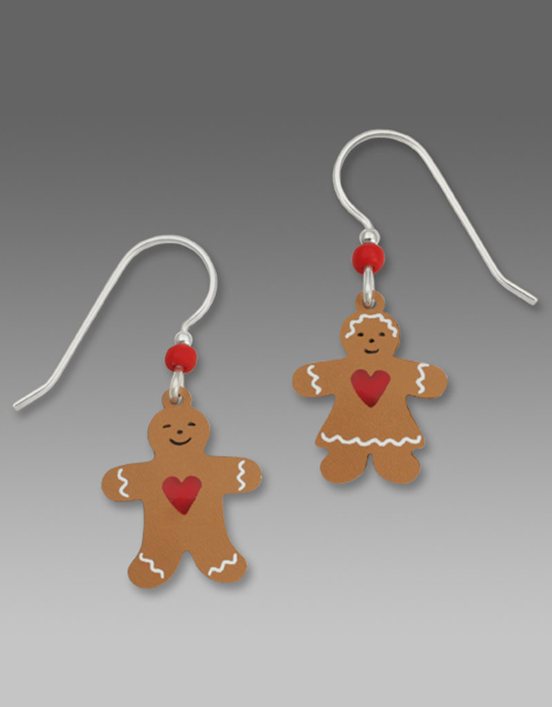 Gingerbread Couple with Red Heart Earrings