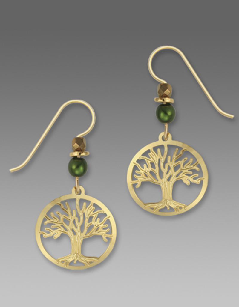 Tree of Life Gold and Green Earrings