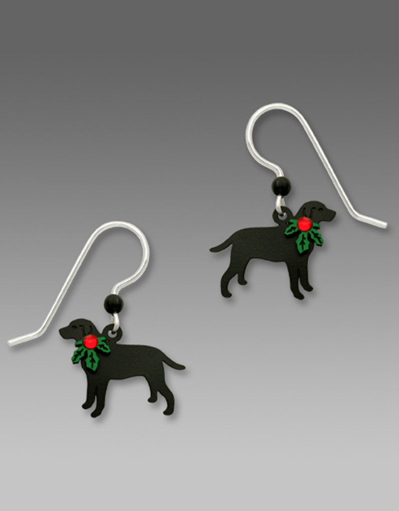 Black Lab with Holly Earrings