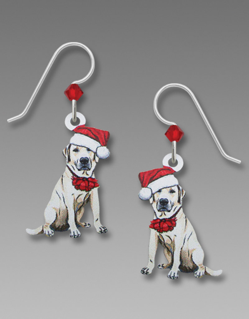 Lab with Santa Hat Earrings