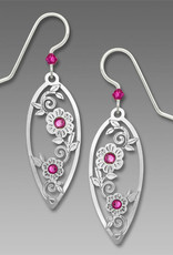 Teardrop Fuchsia Flowers Earrings