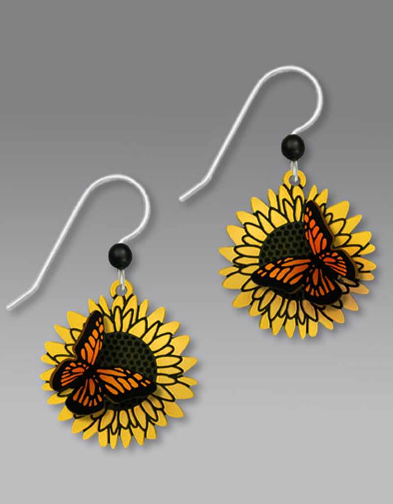 3D Monarch Butterfly on Sunflower Earrings
