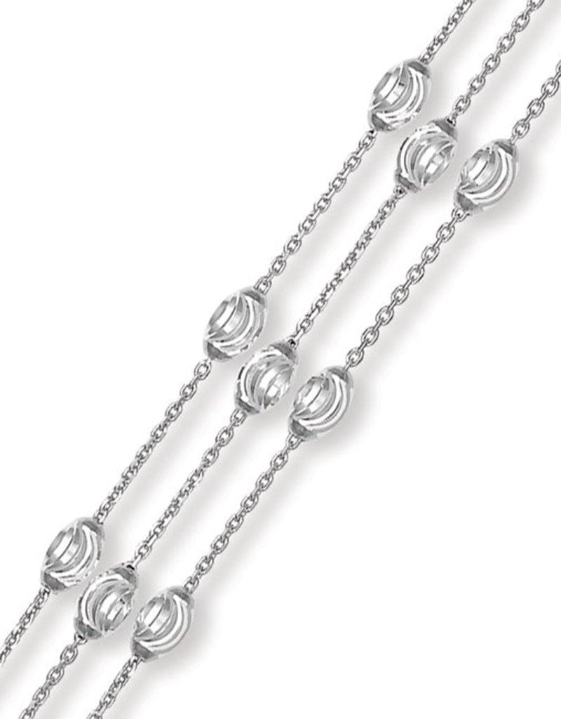 "Sterling Silver Triple Strand Moon Bead Bracelet 7""+1"" Extender"