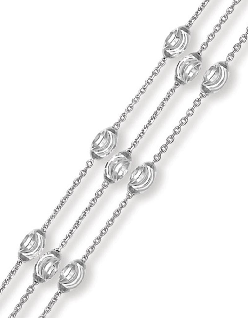 "Triple Strand Moon Bead Bracelet 7""+1"""