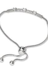 Sterling Silver CZ Triple Stone Bar Bolo Bracelet