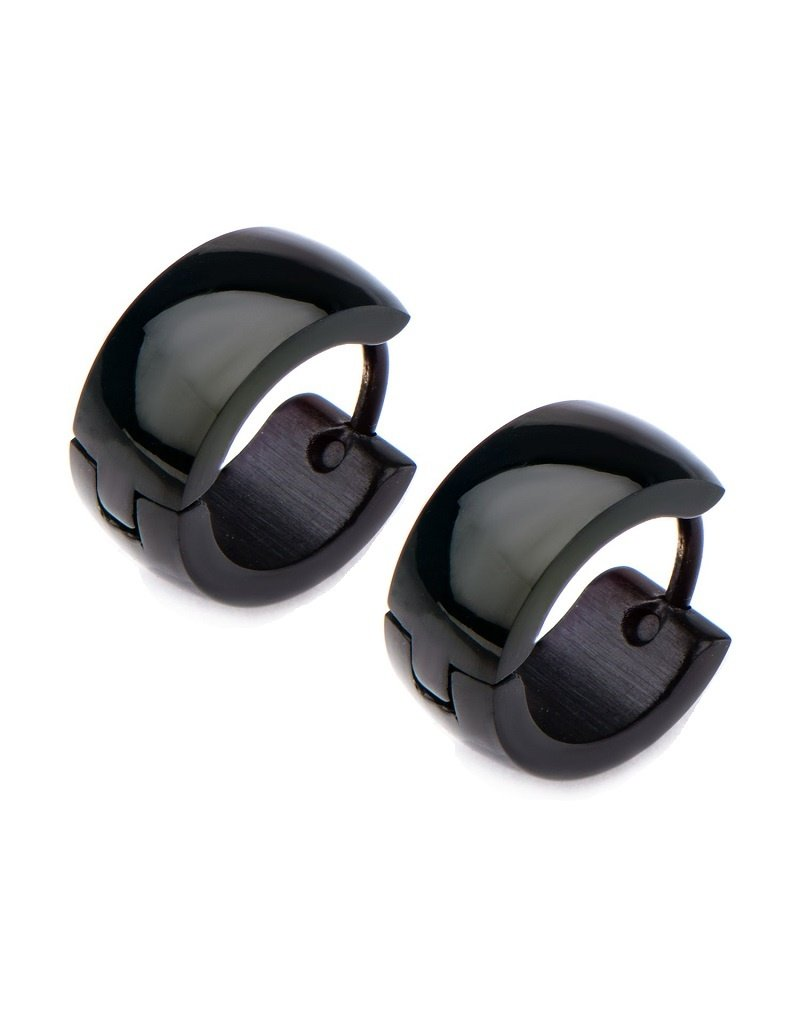 6mm Black Stainless Steel Huggie Earrings 13mm