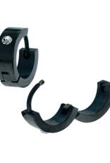 Black Stainless Steel CZ Huggie Earrings 13mm