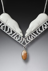 ZEALANDIA Sterling Silver Fossilized Walrus Tusk and Mammoth Ivory Polar Bear Necklace (Chain Included) - Arctic Dreaming II