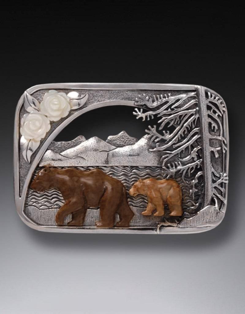 ZEALANDIA Zealandia Designs, Sterling Silver, Katmai Bears Fossilized Mammoth Tusk/Mother of Pearl Pin/Pendant 55mm