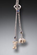 ZEALANDIA Sterling Silver Mammoth Ivory Polar Bear Necklace with Labradorite - Little Bears