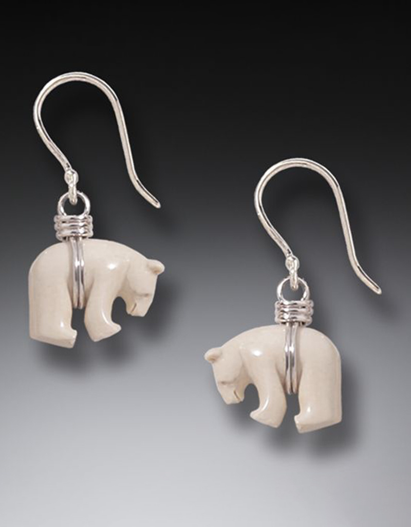 ZEALANDIA Mammoth Ivory Polar Bear Earrings