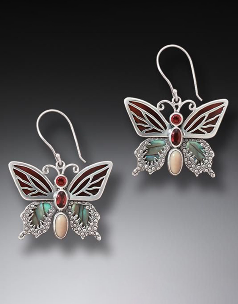 ZEALANDIA Garnet Butterfly Earrings