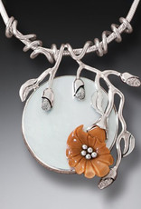 ZEALANDIA Sterling Silver Fossilized Ivory Flower Necklace with Mother of Pearl - Moon Flower