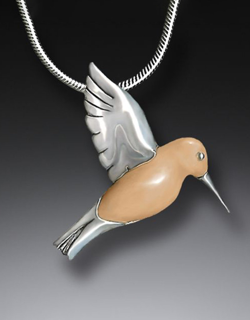 ZEALANDIA Fossilized Walrus Ivory and Sterling Silver Hummingbird Pendant