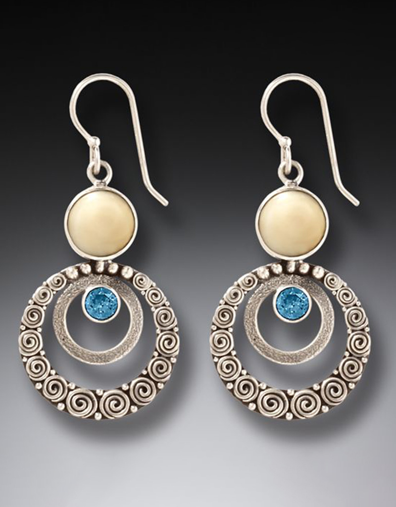 ZEALANDIA Fossilized Walrus Ivory Blue Topaz Earrings