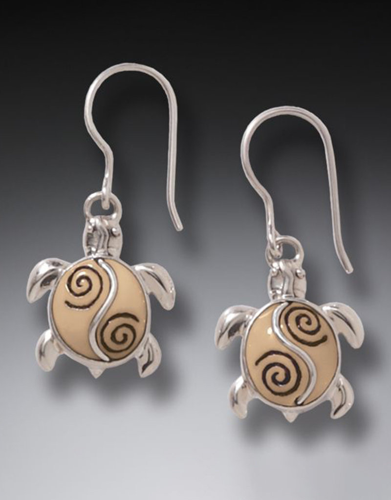 ZEALANDIA Fossilized Walrus Ivory Turtle and Sterling Silver Earrings - Baby Turtles