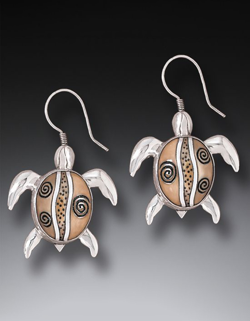 ZEALANDIA Fossil Turtle Earrings 24mm