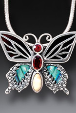 ZEALANDIA Sterling Silver Garnet Butterfly Pendant with Paua, Black Mussel and Fossilized Walrus Tusk - Transition II