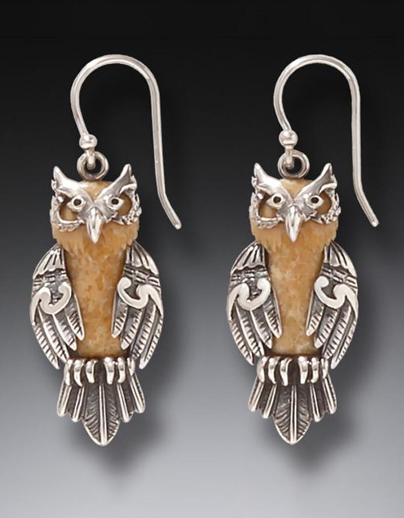 ZEALANDIA Fossilized Walrus Ivory Owl Earrings
