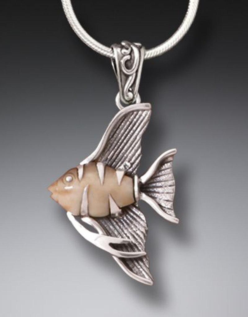 ZEALANDIA Sterling Silver Fossilized Walrus Tusk Ivory Angelfish Pendant