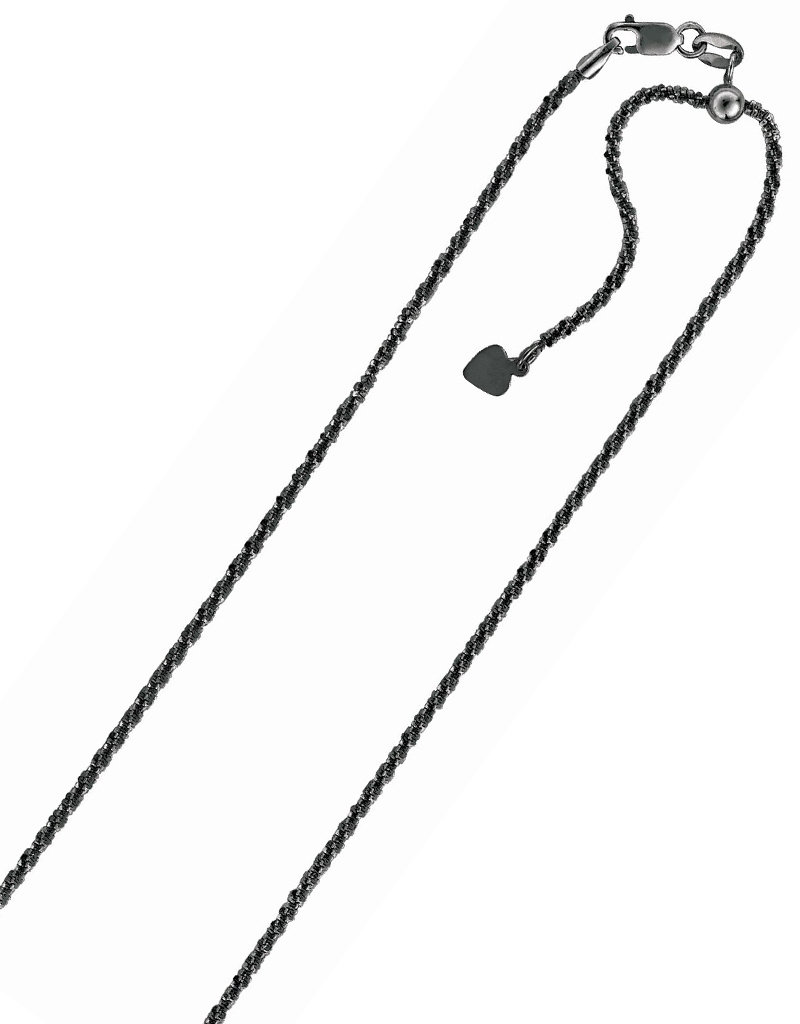 """Sterling Silver Adjustable Sparkle Chain with Ruthenium Finish 22"""""""